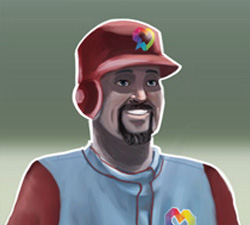 baseball player with batting helmet