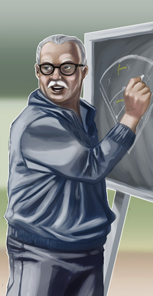 coach at chalkboard