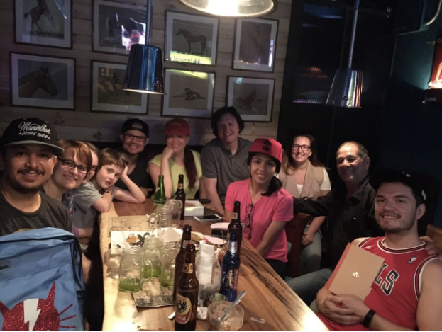 Shane's family and a few of our Costa Rican teammates get together for a yummy dinner and show off their hats direct from Oakland, California!