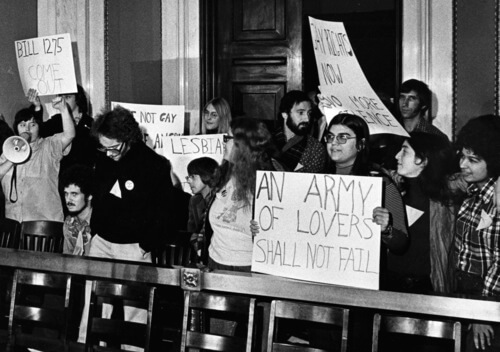 Protestors in 1975, at the hearing for the first US federal gay rights bill