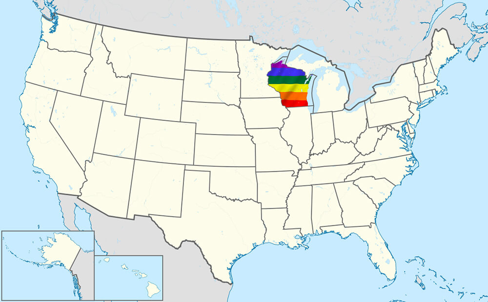 U.S.A map with Wisconsin highlighted in Pride colors