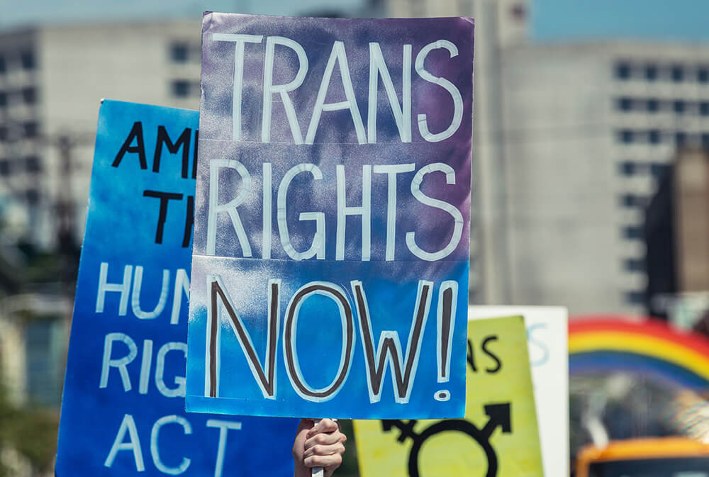 Trans rights sign at a protest