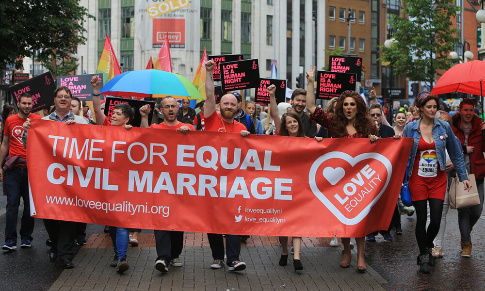 Activist marching in Amsterdam, Netherlands after becomes the first country in the world to legalize same-sex marriage