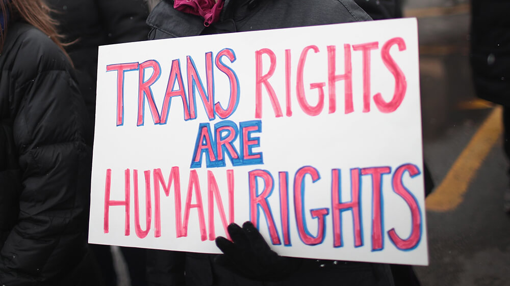 Trans Rights are Human Rights sign at a protest