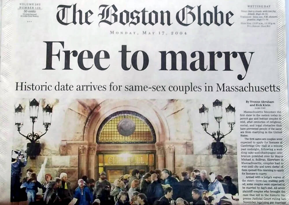 """Cover of the """"The Boston Globe Newspaper"""", in light of the marriage equality approval in Massachusetts"""