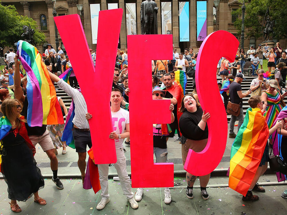 Activists celebrating marriage equality in Canada