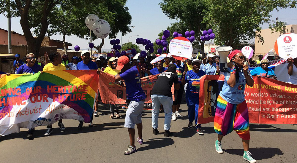 Activists celebrating marriage equality in South Africa