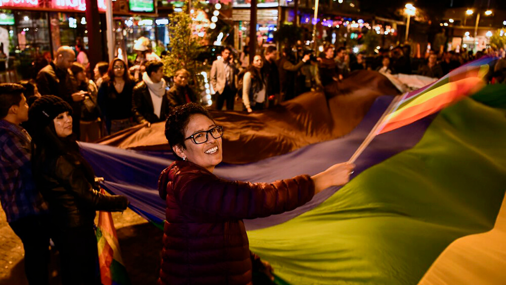 Activists celebrating marriage equality in Ecuador