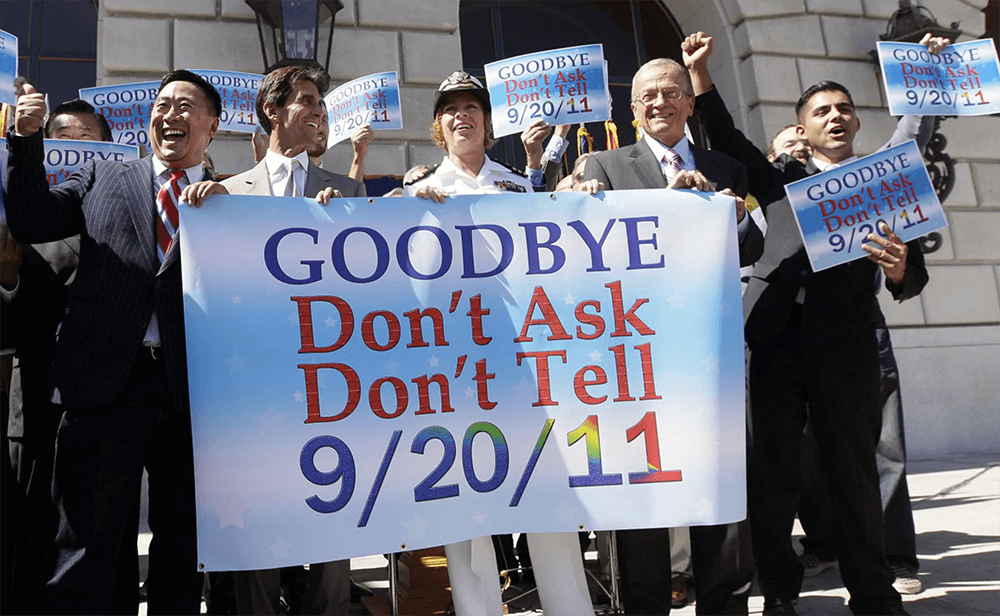 """Activists celebrating the repealing of """"Don't ask, don't tell"""""""