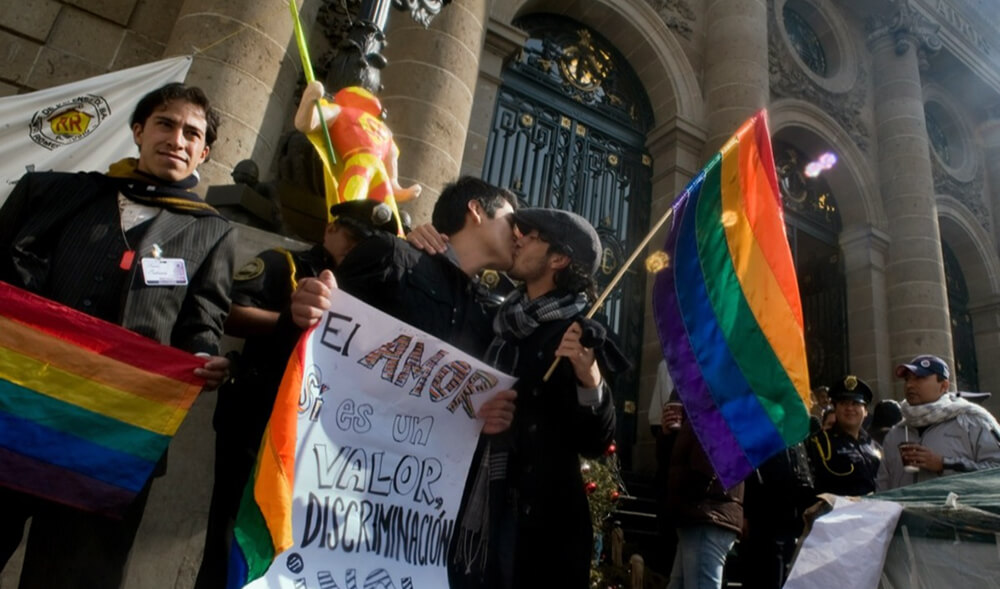 Activists celebrating marriage equality in Uruguay