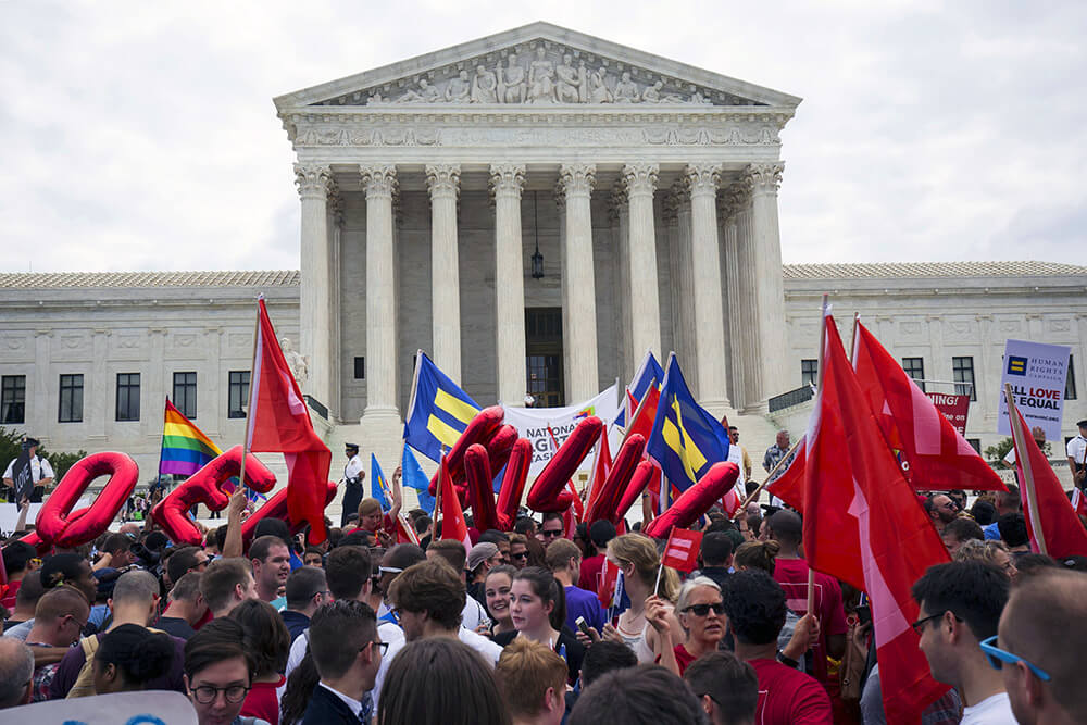 Activists celebrating marriage equality in U.S.A