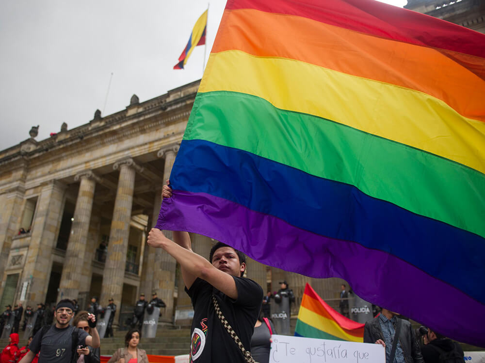 Activists celebrating marriage equality in Colombia