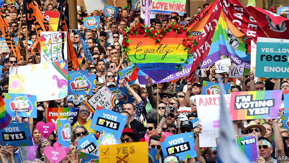 Activists celebrating marriage equality in Australia