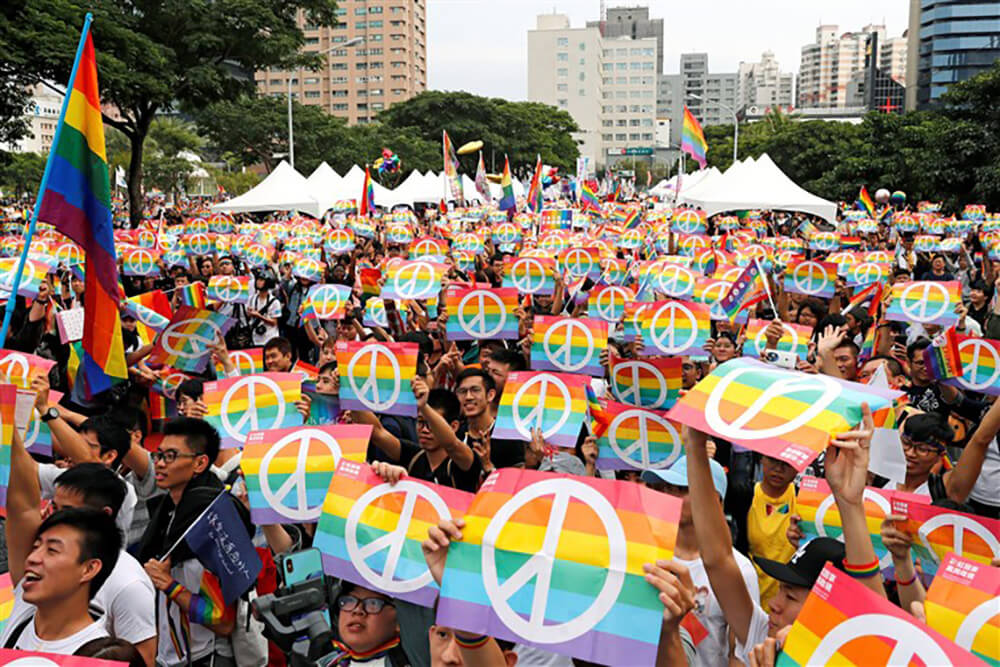 Activists celebrating marriage equality in Taiwan