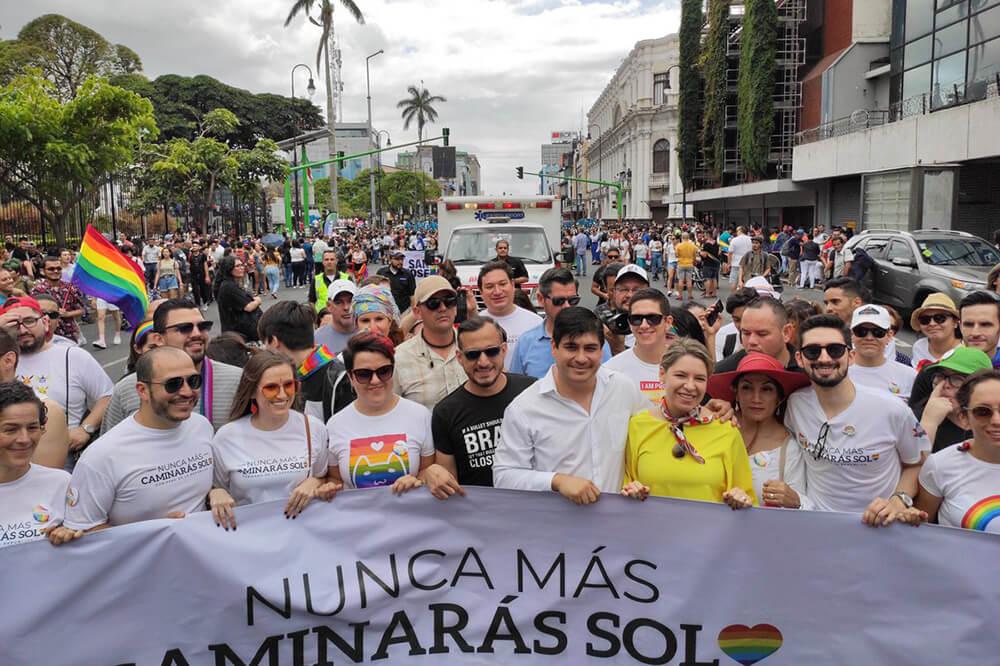 Costa Rica's President Carlos Alvarado at Costa Rica's 2020 Pride Parade
